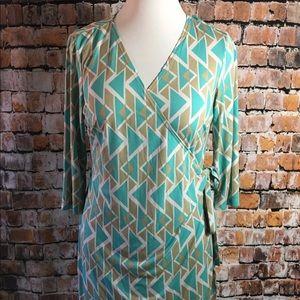 SOHO Apparel Colorful faux Wrap Dress Size 14